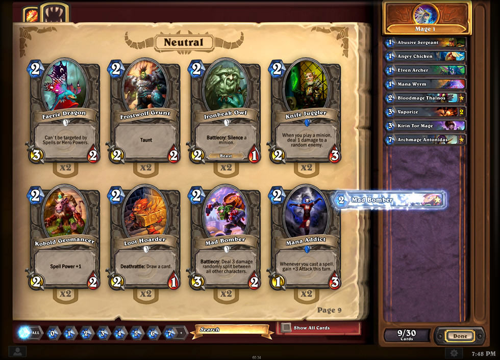 screenshot of deck of cards form blizzard game hearthstone heroes of warcraft