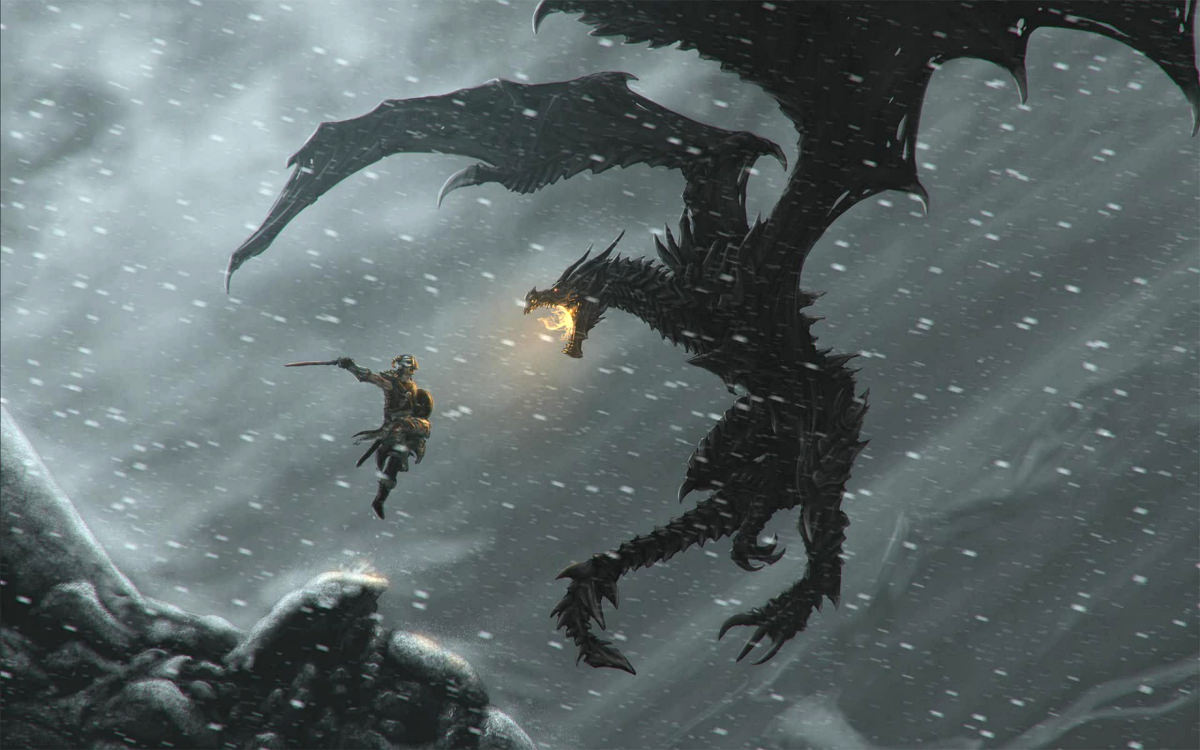 Concept art of Dvahkiin fighting Dragon in Skyrim
