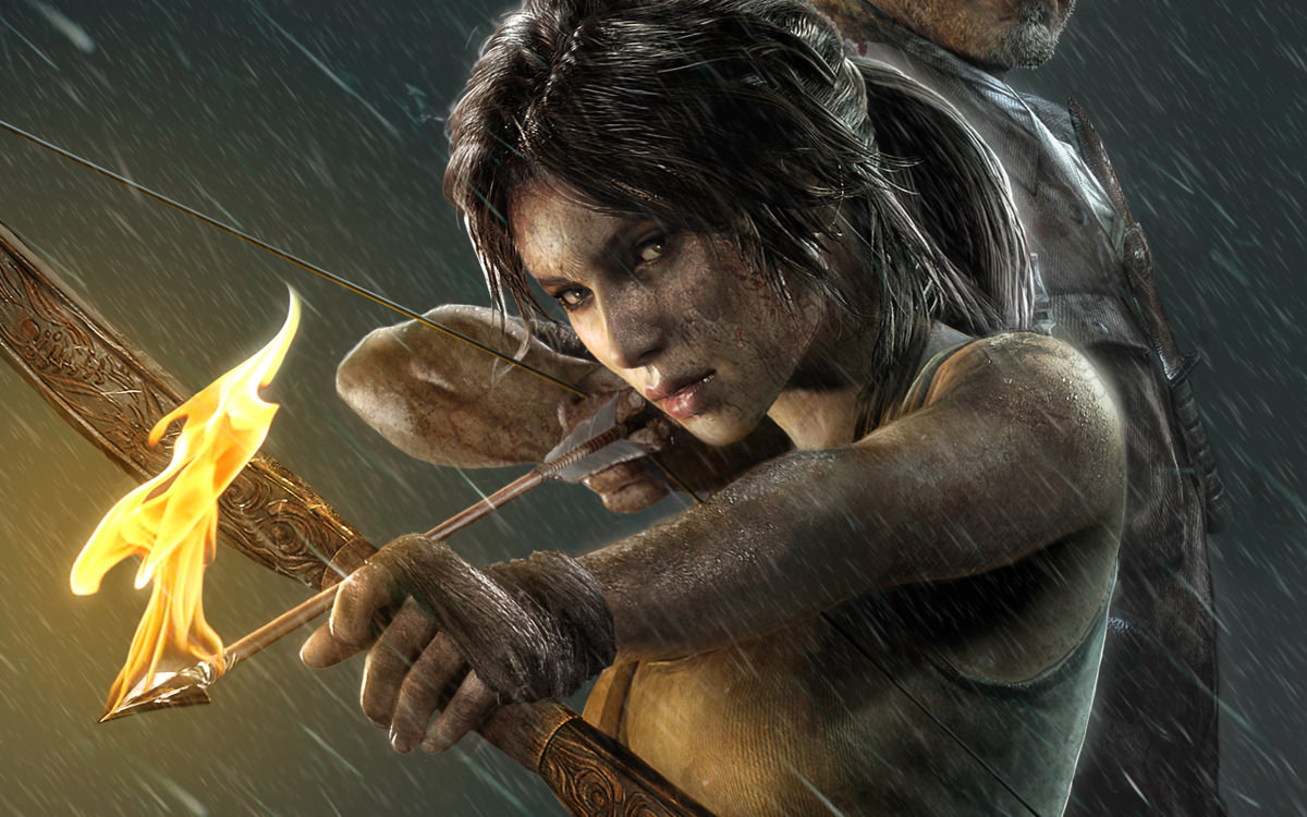 Art of Lara Croft with bow from Tomb Raider 2013