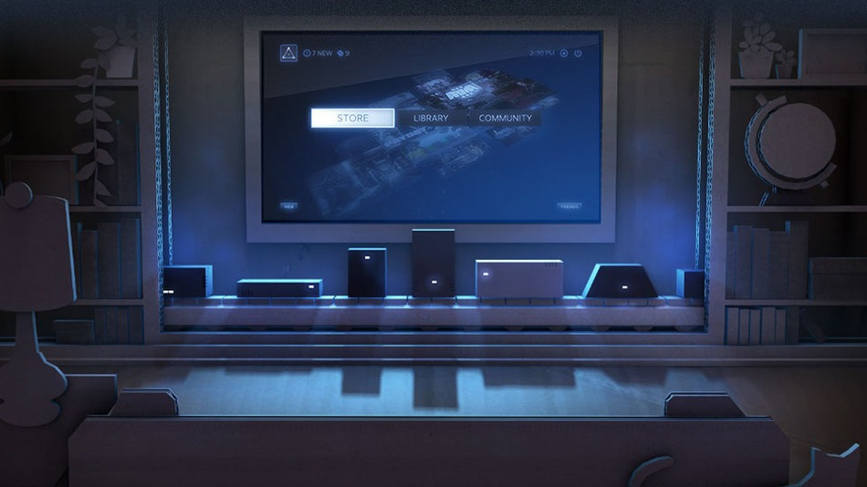 ilustration of steam machines inliving room