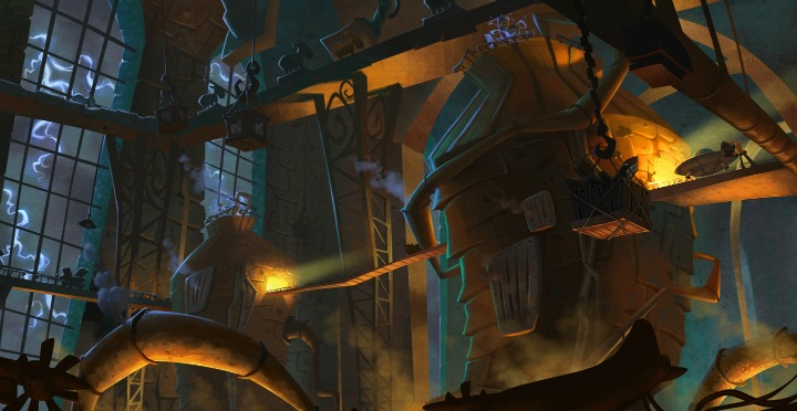 steampunk inspired art from the game flockers from team 17
