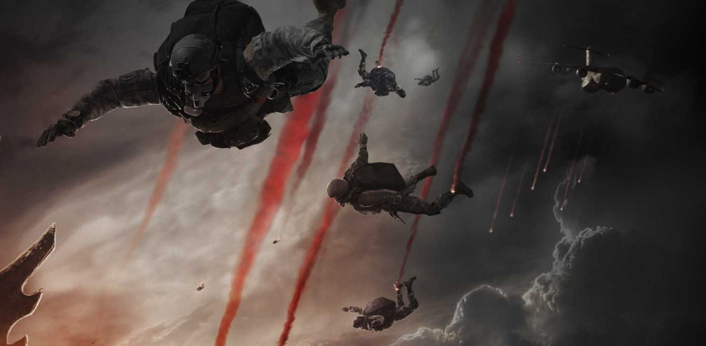 soldiers falling down from the godzilla 2014 movie