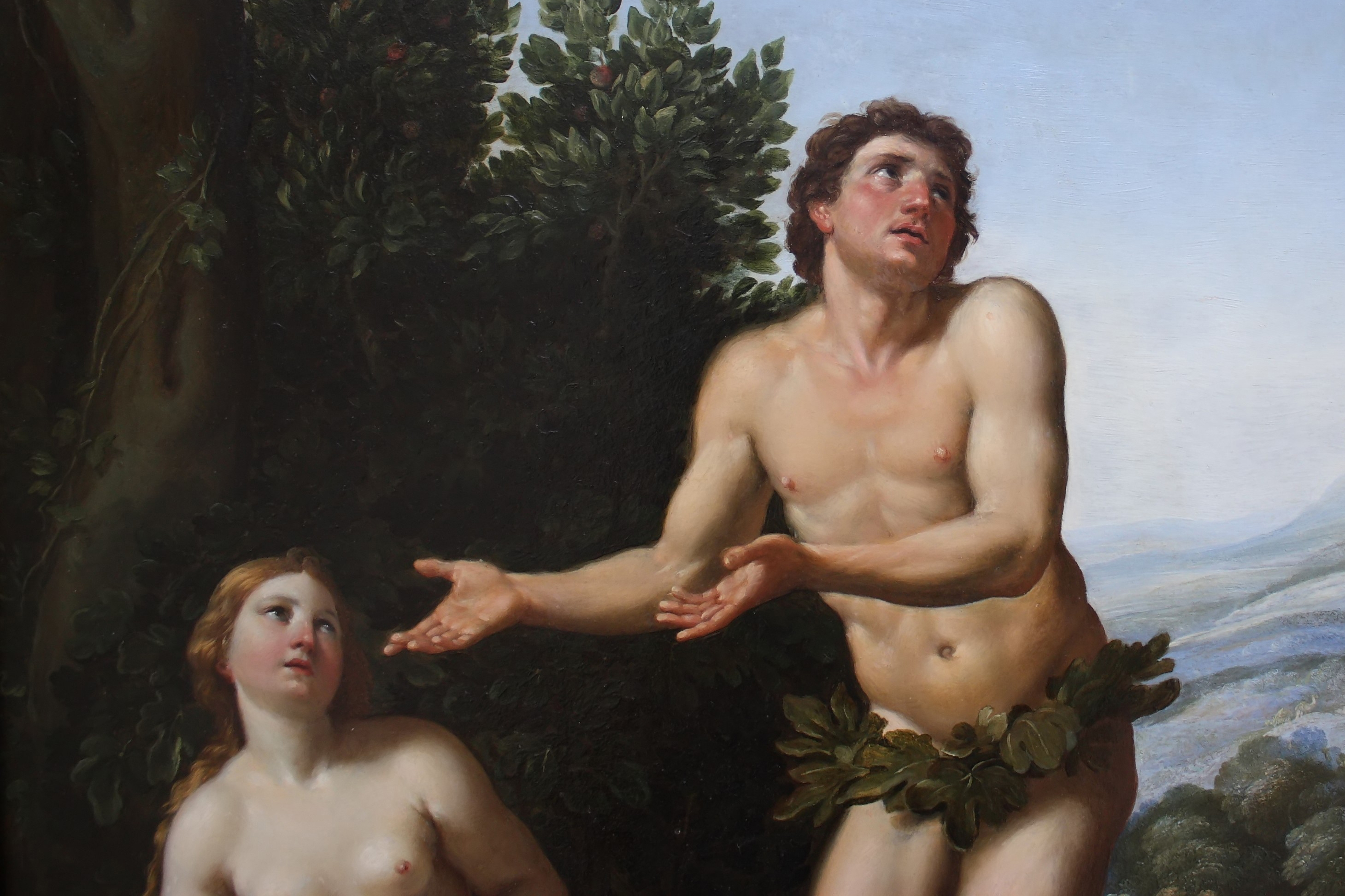 """Detail of the painting """"God reprimanding Adam and Eve"""", by F. Zampieri (1625)"""